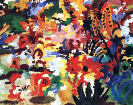Colored Composition Large Flower Carpet