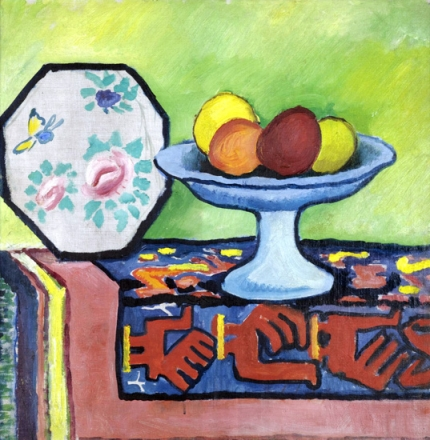 Still-Life With Bowl Of Apples And Japanese Fan