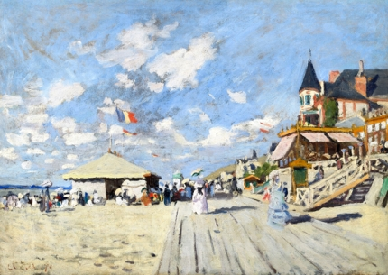 On the Boardwalk at Trouville (1870)