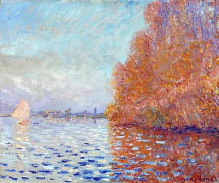 Argenteuil basin with a single sailboat 1874
