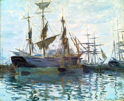 Ships In Harbor, 1873