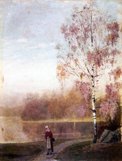 Landscape With Woman Walking By A Lake