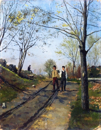 Two Boys On A Country Lane