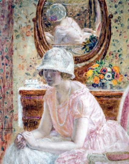 Young Girl Before A Mirror In A Pink Dress