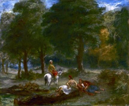 Greek Cavalry Men Resting in Forest 1858