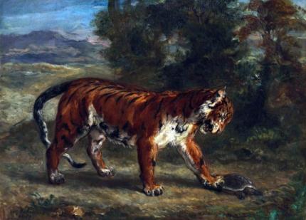 Tigre Jouant Avec Une Tortue 1862