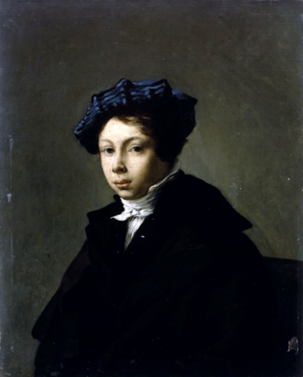 Portrait of a Young Man Wearing a Blue Beret