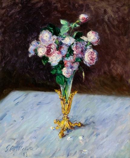 Bouquet De Roses Dans Un Vase De Cristal 1883