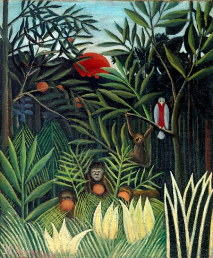 Monkeys and Parrot in the Virgin Forest