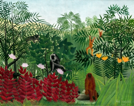 Tropical Forest with Apes and Snake