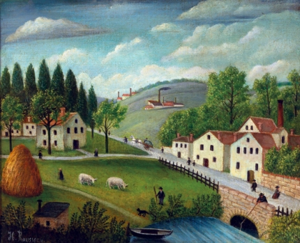 Pastoral landscape with stream, fisherman and stroller