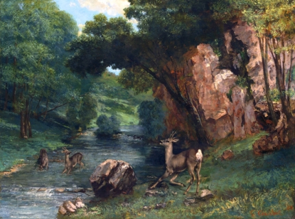Roe Deer at a Stream 1868