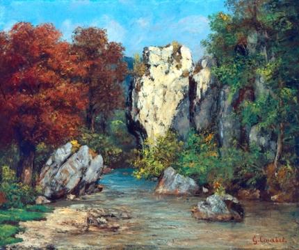 Paysage au Ruisseau Et au Rocher