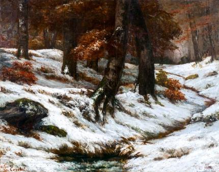 Paysage De Neige avec arbres Et Rochers