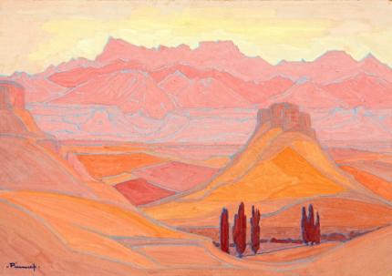 Extensive landscape in Pink, Orange and Rose