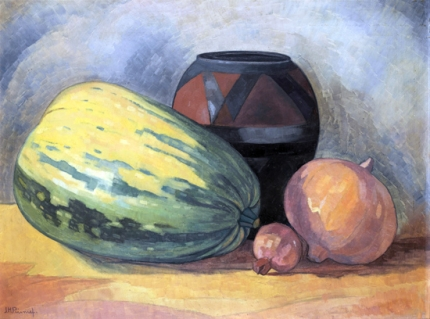 Still Life of Gourds, a Pomegranate and an African Clay Pot