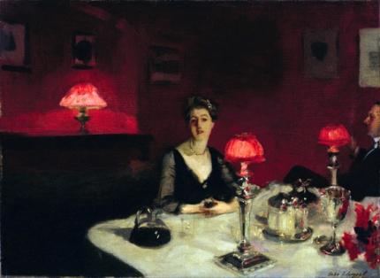 Le Verre De Porto (a Dinner Table at Night) 1884
