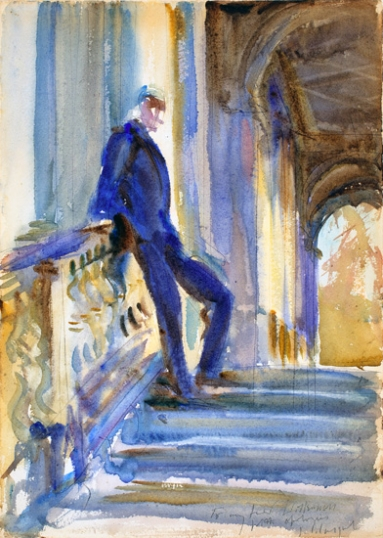 Sir Neville Wilkinson on the Steps of the Palladian Bridge at Wilton House 1904