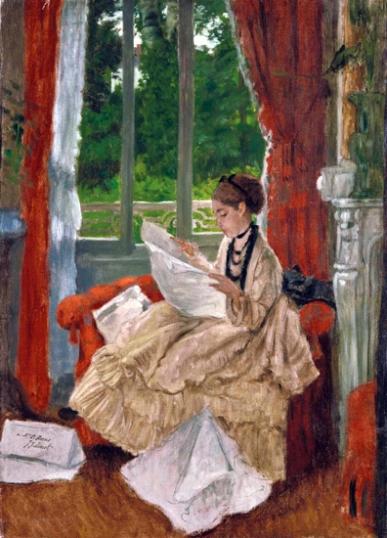 Jeune femme lisant le journal