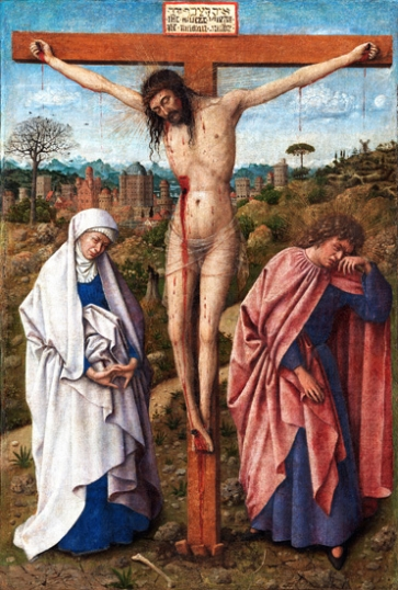 Christ on the cross between Mary and John