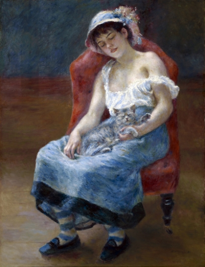 Sleeping Girl with a Cat