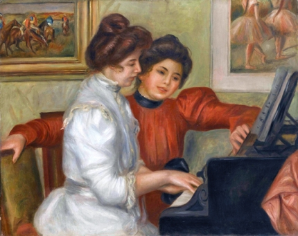 Yvonne and Christine Lerolle at the Piano