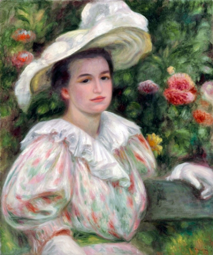 Girl in Gold Flowers Woman in White Hat, Circa 1895