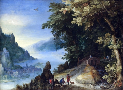 A Mountainous River Landscape With Travellers On A Hill Overlooking A Distant Town