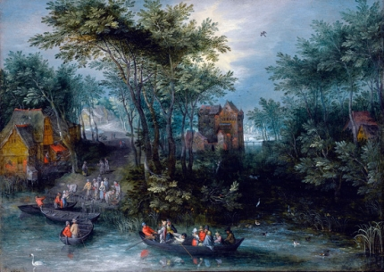 A Wooded Landscape With Peasants Crossing The River