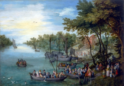 A Wooded River Landscape With A Landing Stage, Boats, Various Figures And A Village Beyond