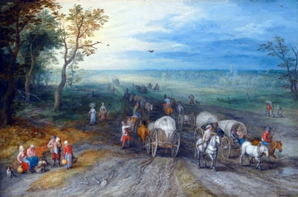 Panoramic Landscape With Travellers With Horses Carts And Cattle On A Sandy Road