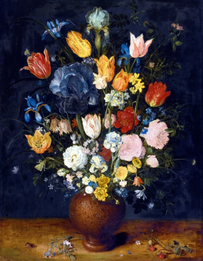 Still Life Of Flowers In A Stoneware Vase