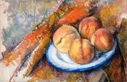 Four Peaches on a Plate