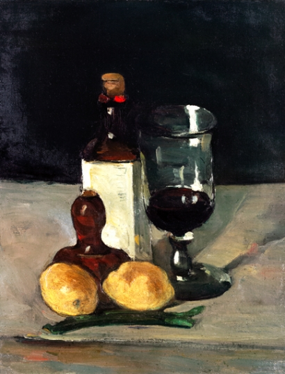 Still Life with Bottle, Glass, and Lemons