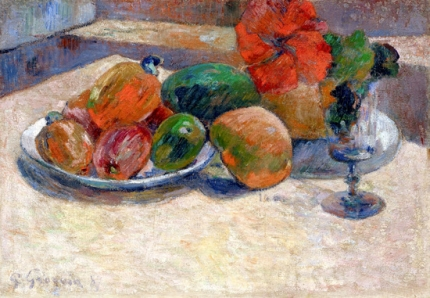 Still Life with Mangoes and a Hibiscus Flower