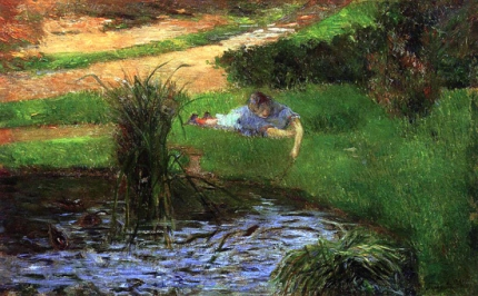 Little Girl Playing, or Pond with Ducks