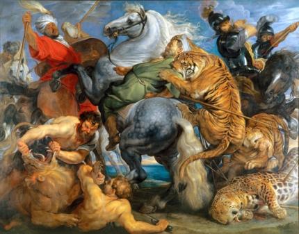 Tiger Lion and Leopard Hunt 1616