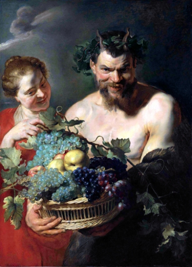 A Satyr Holding a Basket of Grapes and Quinces with a Nymph