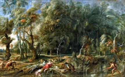 Atalanta and Meleagro Hunting the Boar of Calidón