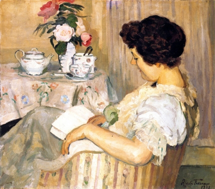 Alice Reading beside a Cup of Tea
