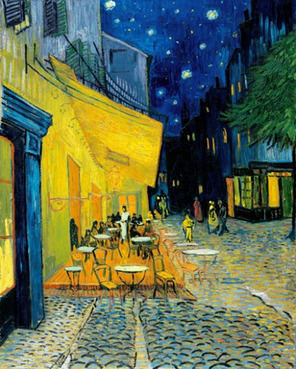 Terrace of a café at night (Place du Forum)