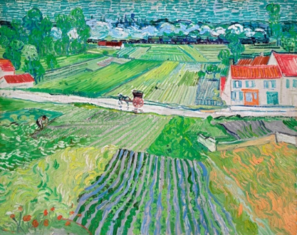 Landscape At Auvers After Rain With Carriage And Train 1890