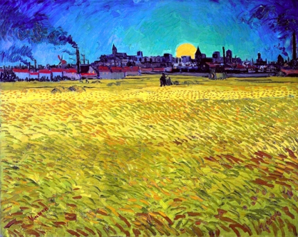 Summer Evening, Wheatfield With Setting Sun 1888