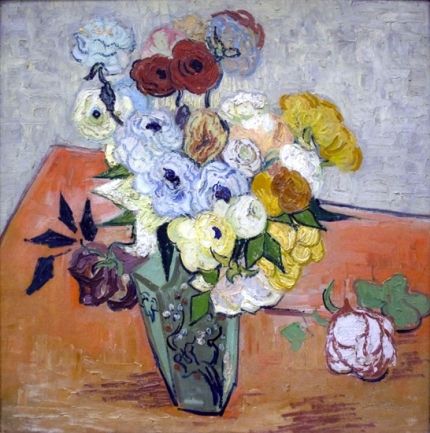 Japanese Vase With Roses And Anemones